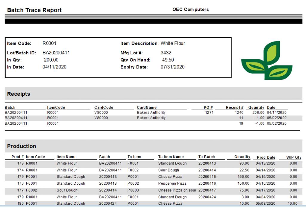 Batch Trace Report