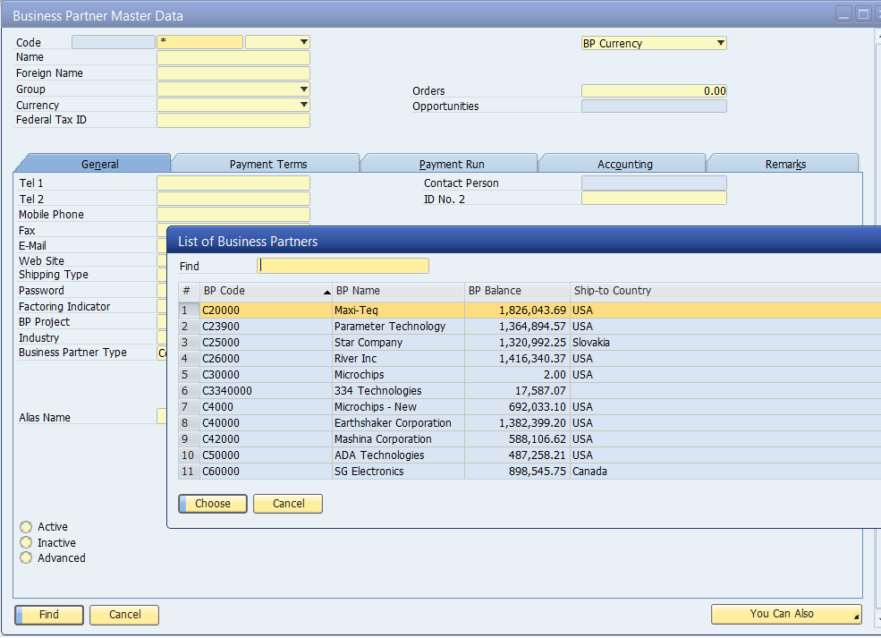 Form Search for SAP Business One Reporting