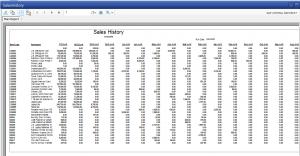 Sales History Item Report